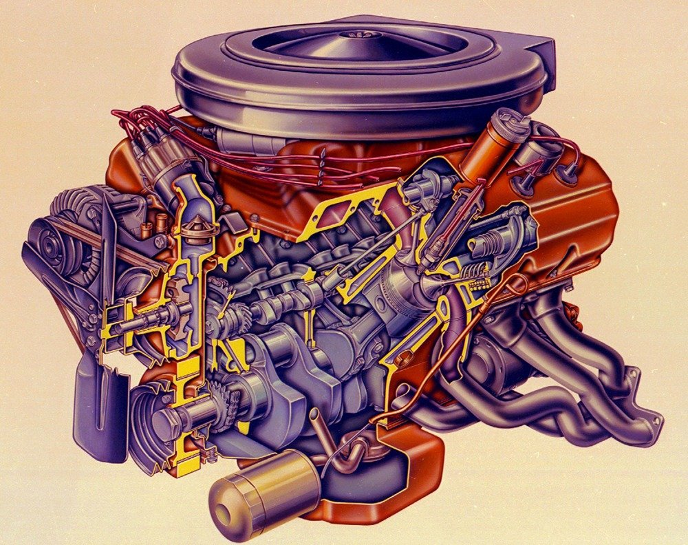 1963-1965 Hemi engine cross section